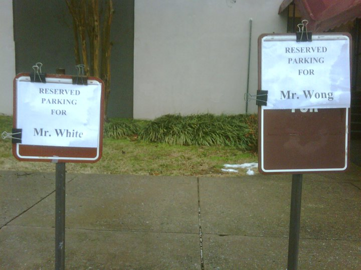 Parking Reserved for Mr. White and Mr. Wong
